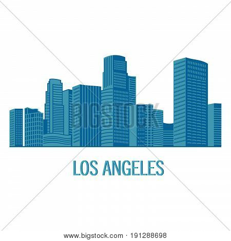 Down town American landscape with skyscrapers and high-rise buildings in flat style a vector.View of Los angeles city skyline silhouette and landmarks.United States