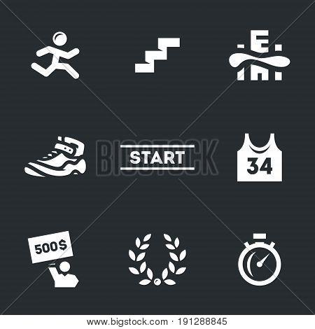 Runner, step, city, shoes, start, shirt, check, glory, time.