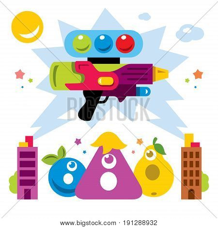 Weapon with balls against characters. Isolated on a white background