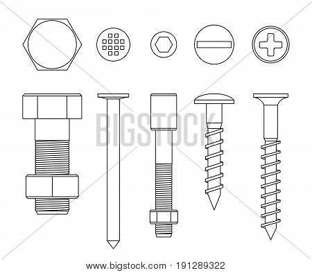 Screws and bolts line drawing. Vector thin illustration of fixing elements.