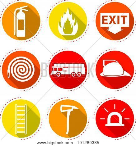 9 Easy-To-Use Fire Fighter Flat Icons Designed as Red & Yellow Theme With Long Shadow