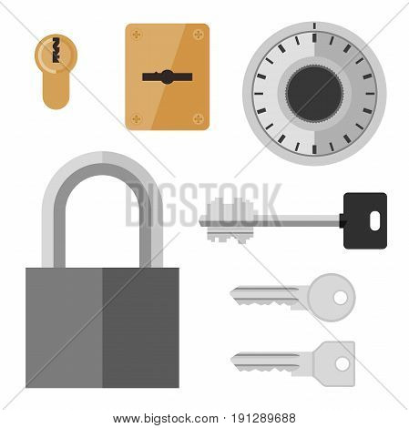 Locks and keys in flat style. Vector simple illustration of safe lock, doors locks and different keys.