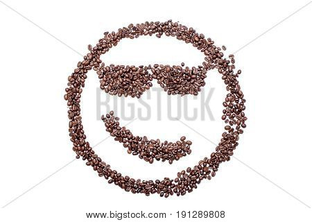Spectacled Malicious Smile Smiley Coffee Beans Isolated On A White Background