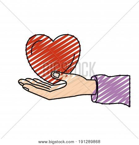 color crayon silhouette hand palm giving a heart charity symbol vector illustration