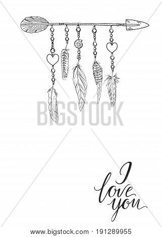 Boho elements. Vector illustration with feathers arrow and chains. The words I love you. Ornamental bird feathers isolated
