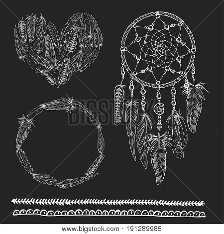 Set of boho elements. Vector illustration with Dreamcatcher feathers arrow heatr and ribbon. Ornamental bird feathers isolated on black. Astrology spirituality magic symbols. Ethnic tribal element.