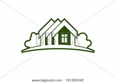 Abstract Vector Illustration Of Country Houses With Horizon Line. Village Theme Picture – Green Hous