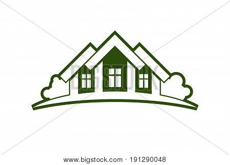 Abstract vector illustration of country houses with horizon line. Village theme picture - green house. Simple buildings on nature background graphic emblem for advertising and real estate.