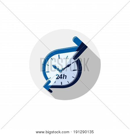 Twenty-four hours a day interface icon. Time is running out idea symbol isolated on white for use in advertising.