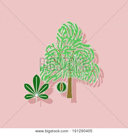 paper sticker on stylish background of tree Castanea