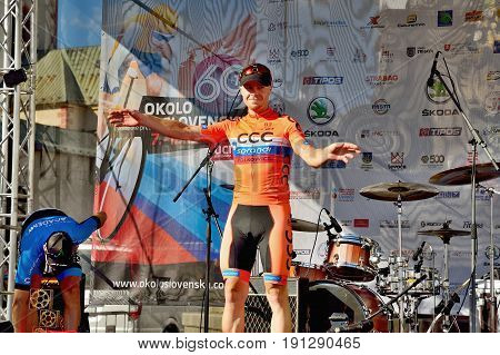 BANSKA BYSTRICA, SLOVAKIA - JUNE 08, 2017: Jan Tratnik from Slovenia celebrate leadership in general classification and points classification after second stage of road cycling championship - Tour of Slovakia