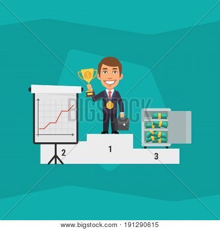 Businessman Standing On Pedestal And Holding Cup