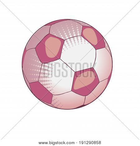 Ball for playing soccer in light pink tones. Soccerball. Vector illustration. Isolated on white