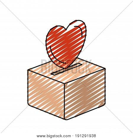 color crayon silhouette flat heart depositing in a carton box vector illustration