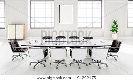 Modern Meeting Room With Table And Chairs