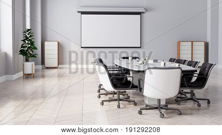 Modern Meeting Room With Projector Screen