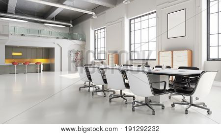 Office Space, Meeting Room Table With Kitchen Area