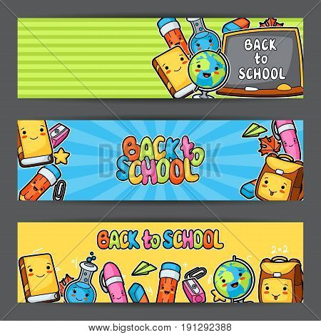Back to school. Kawaii banners with cute education supplies.
