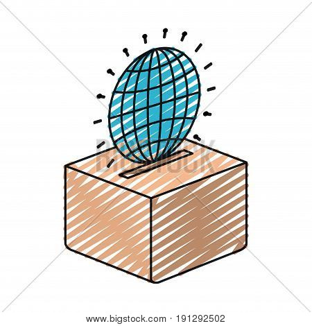 color crayon silhouette flat globe earth world chart depositing in a carton box vector illustration