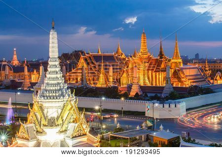 Wat phra kaew and Grand palace at twilight time Beautiful Landmark of Thailand Bangkok
