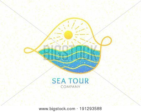 Travel company logo. Vector icon sea waves, sun. Sign on abstract leave on white background. Color emblem for design of business, holiday, travel agency, ecology concept, health, spa and yoga Center.
