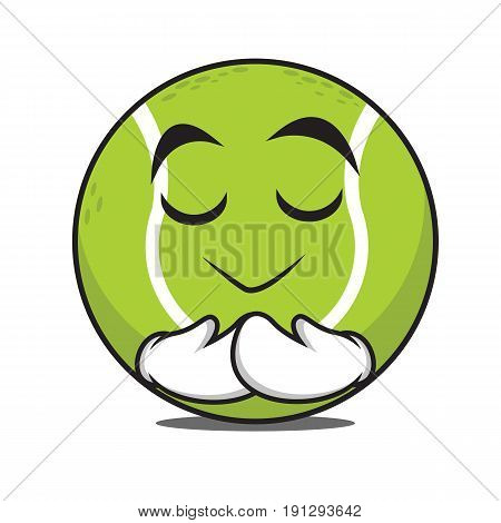 Praying tennis ball character cartoon vector illustration