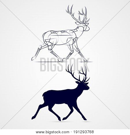 Running Horned Deer Silhouette with Sketch Template on Gray Background