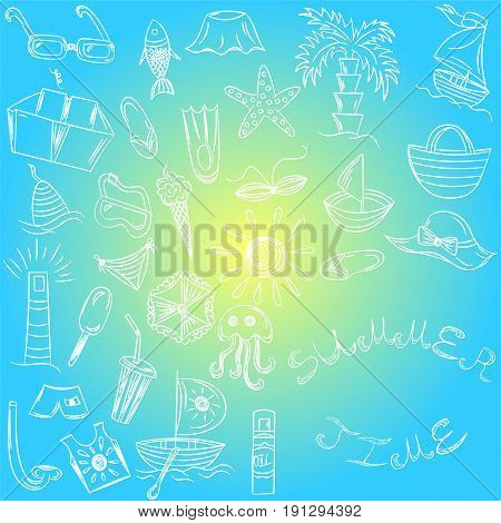 Summer Time. Hand Drawings of Summer Vacancies Symbols. Doodle Boats, Ice cream, Palms, Hat, Umbrella, Jellyfish, Cocktail, Sun on Blue Background. Vector Illustration.
