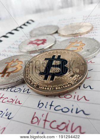 Bitcoins In Notebook