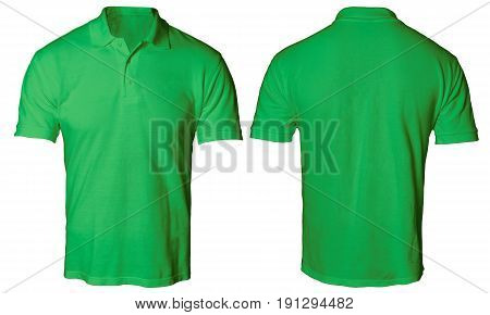 Blank polo shirt mock up template front and back view isolated on white plain green t-shirt mockup. Polo tee design presentation for print.