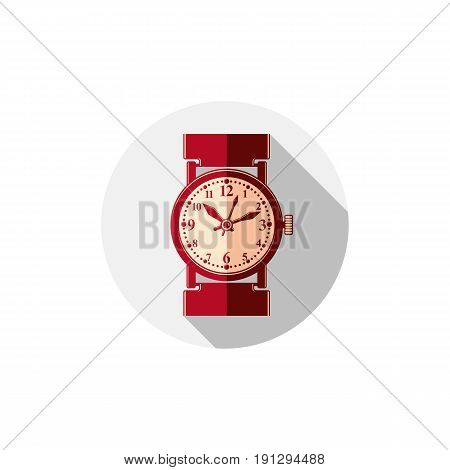 Stylish wristwatch illustration elegant timepiece with dial and an hour hand. Corporate design emblem or web element.
