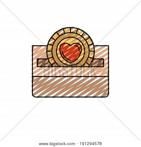 color crayon silhouette front view flat coin with heart symbol inside depositing in a carton box vector illustration