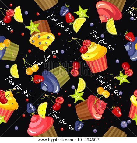 sweet treats seamless pattern of cupcakes in the glaze and berries on a black background