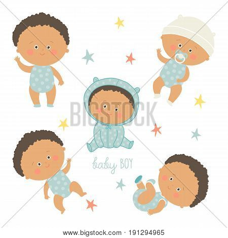 African baby set. African American toddler boys. Cartoon vector hand drawn eps 10 illustration isolated on white background.