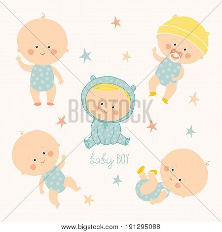 Set with cute baby boys. Growth from newborn to toddler. Various poses.First year. activities. Crawling, sitting, standing, playing smiling