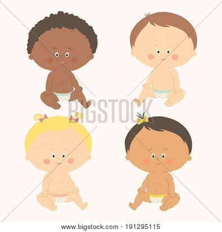 Multi-ethnic set of four babies sitting. Toddler girls and boys. Cartoon vector hand drawn eps 10 illustration isolated on white background.