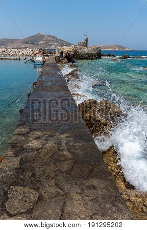 Amazing Panorama of Venetian fortress and port in Naoussa town, Paros island, Cyclades, Greece