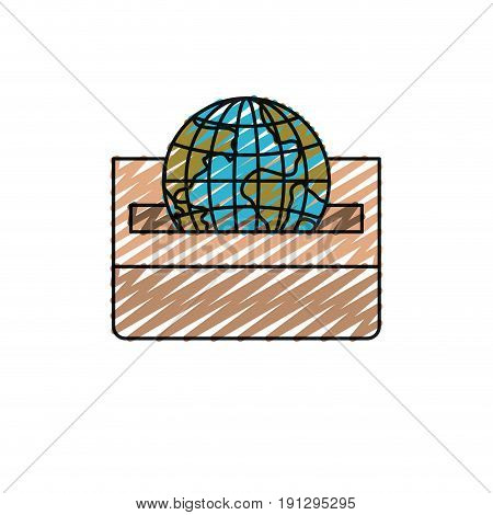 color crayon silhouette front view flat globe earth world depositing in a carton box vector illustration