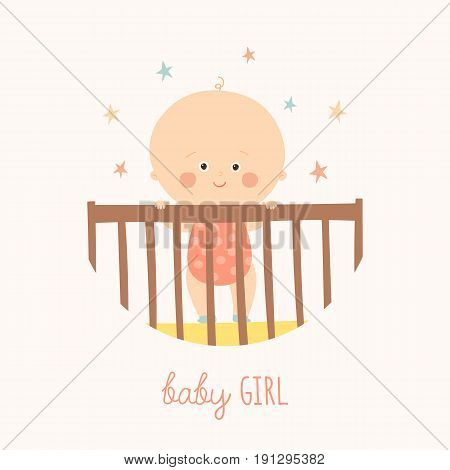 Cute Baby 1 year old standing in Crib. Baby shower design element. Cartoon vector hand drawn eps 10 illustration isolated on white background.