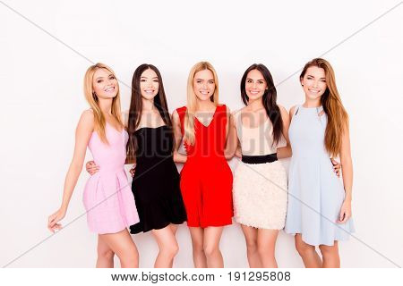 Multicultural Beauty, Fashion And Woman Concept. Five Cute Ladies In Colorful Short Cocktail Dresses