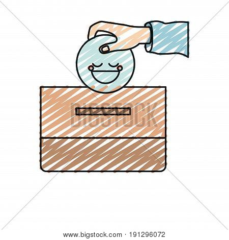 color crayon silhouette front view hand with flat happy face depositing in a carton box vector illustration