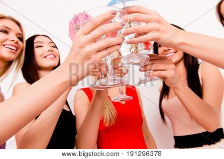 Party All Night Long! Low Angle Of Five Young Festive Fancy Ladies Clicking The Glasses And Toasting