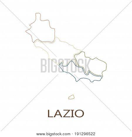 Lazio region on white background concept of a business tourism culture concept