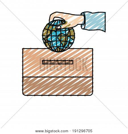 color crayon silhouette front view hand with flat globe earth world depositing in a carton box vector illustration