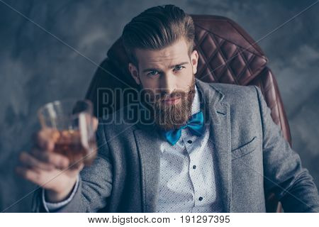 Cheers, Ladies And Gentlemen! Stylish Elegant Red Bearded Aristocrat In Suit And Bowtie Holds Glass