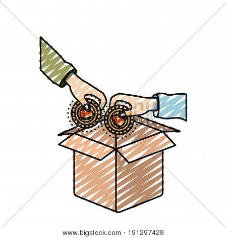 color crayon silhouette hands holding a coins with heart shape inside to deposit in cardboard box vector illustration