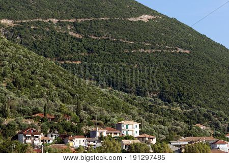 VASILIKI, LEFKADA, GREECE JULY 16, 2014: Panorama of Village of Vasiliki, Lefkada, Ionian Islands, Greece