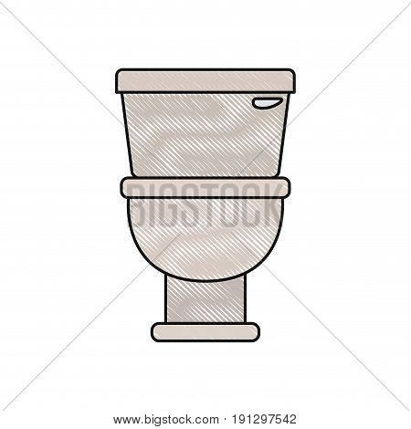color crayon silhouette with toilet icon in front view vector illustration