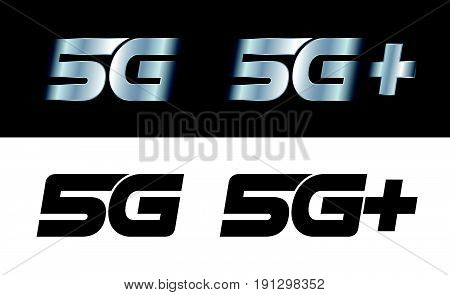Vector illustration of modern 5G and 5G+ signs for the high speed connection