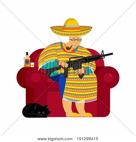 Mexican Grandmother With Gun. Old Woman From Mexico On Chair And Cat. Sombrero And Poncho. Tradition